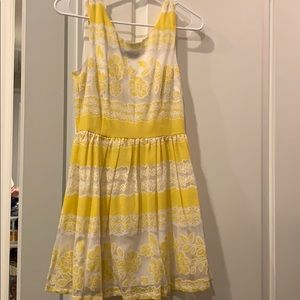 Delicate yellow and white floral dress
